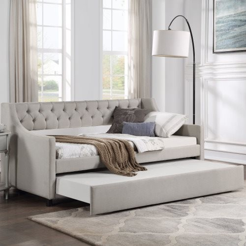 TOPMAX Daybed with Trundle Upholstered Tufted Sofa Bed, Twin Size, Beige