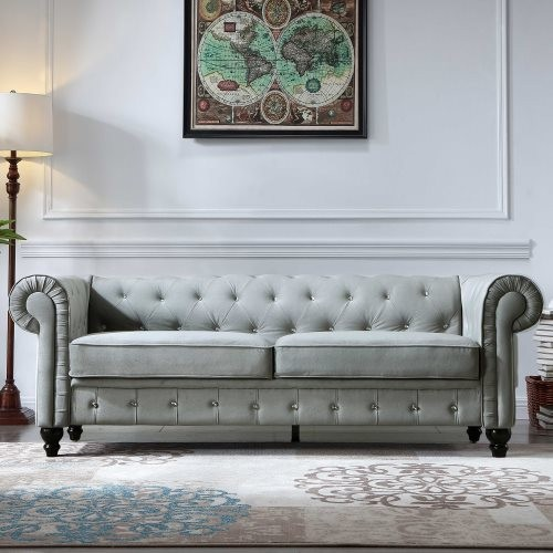 80 Inch Width Couch for Living Room,Direct Arvilla Upholstered Chesterfield Sofa, Velvet Surface,Grey