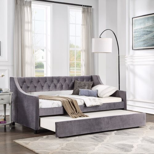 TOPMAX Daybed with Trundle Upholstered Tufted Sofa Bed, Twin Size, Dark Gray