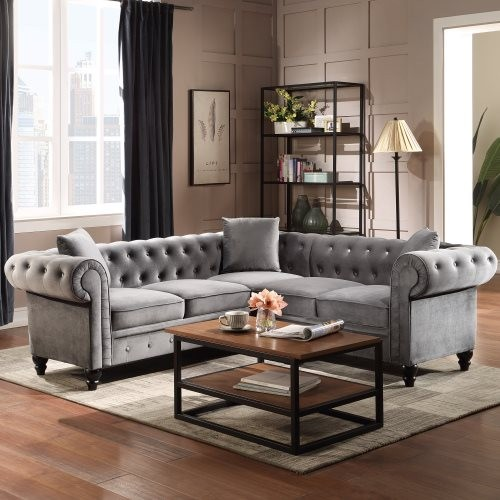 """80*80*28"""" Deep Button Tufted Velvet Upholstered Rolled Arm Classic Chesterfield L Shaped Sectional Sofa 3 Pillows Included-Grey"""