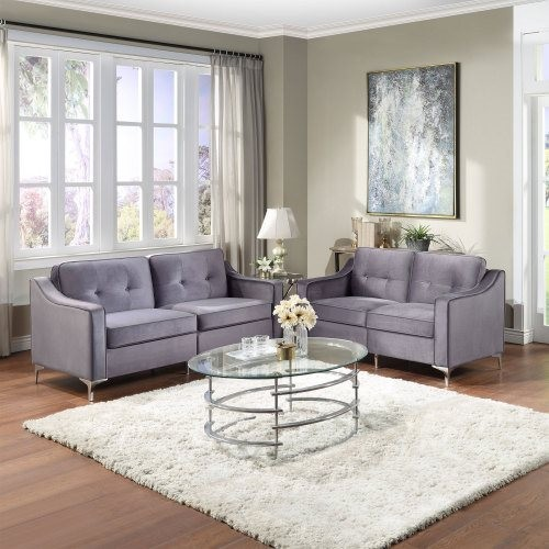 2 Pieces Tufted Velvet Upholstered Loveseat & Couch Sofa Track Arm Classic Mid-century Modern Sofa Set with Chromed Metal Legs