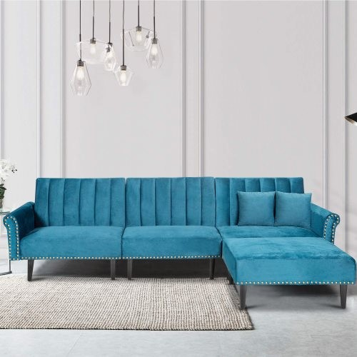 Rivet Upholstered Combination Sofa With Adjustable Back And Brass Nail, Sofa Bed (Blue)