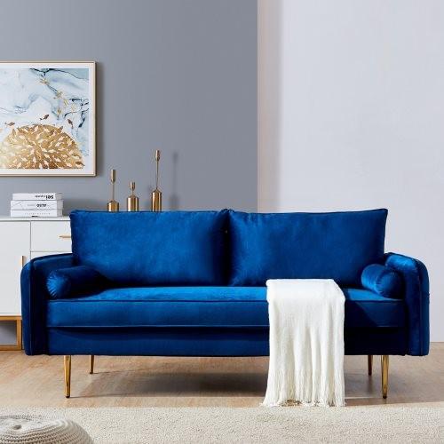 Velvet Fabric sofa with pocket-71''Blue