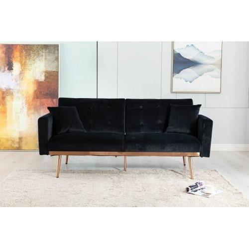 COOLMORE Velvet Sofa , Accent sofa .loveseat sofa with rose gold metal feet and Black Velvet