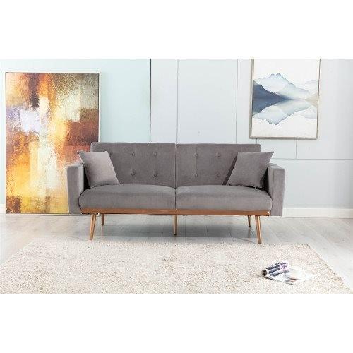 COOLMORE Velvet Sofa , Accent sofa .loveseat sofa with rose gold metal feet and Grey Velvet