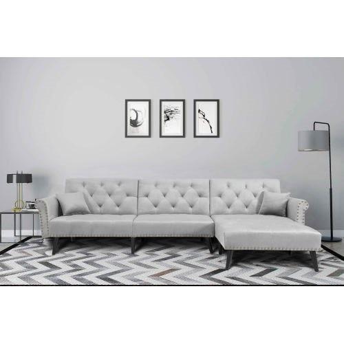 Convertible Sofa bed sleeper Light Grey velvet