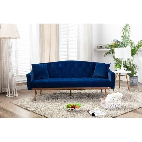 COOLMORE Velvet Sofa , Accent sofa .loveseat sofa with Stainless feet Navy Velvet