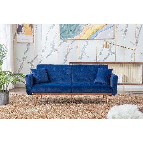 COOLMORE Velvet Sofa , Accent sofa .loveseat sofa with rose gold metal feet and Navy Velvet