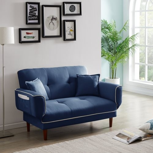 RELAX LOUNGE SOFA BED SLEEPER WITH 2 PILLOWS NAVY BLUE FABRIC