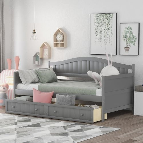 Twin Wooden Daybed with 2 drawers, Sofa Bed for Bedroom Living Room,No Box Spring Needed,Gray