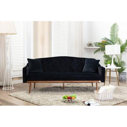 COOLMORE Velvet Sofa , Accent sofa .loveseat sofa with Stainless feet Black Velvet