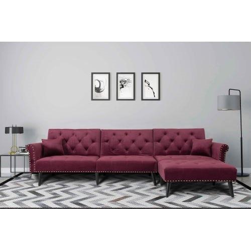 Convertible Sofa bed sleeper Wine Red Velvet