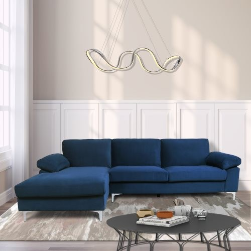 SECTIONAL SOFA LEFT HAND FACING NAVY BLUE VELVET (replace W223S00027, W223S00305)