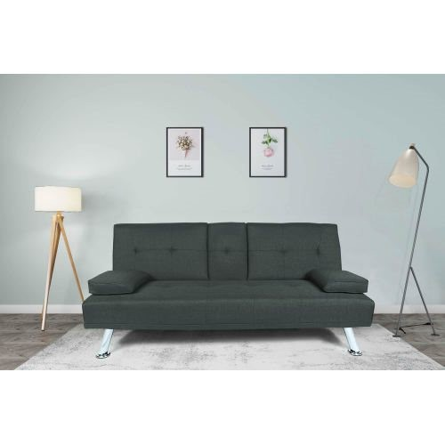FUTON SOFA BED SLEEPER DARK GREY FABRIC (W22303581)