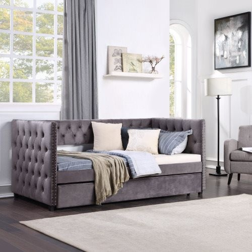 TOPMAX Twin Daybed with Trundle, Upholstered Tufted Sofa Bed with Nailhead Trim, Gray