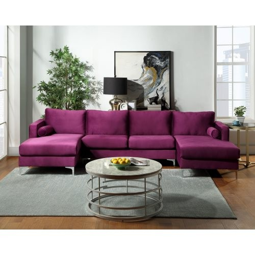 Orisfur. Sectional Sofa with Two Pillows, U-Shape Upholstered Couch with Modern Elegant Velvet for Living Room Apartment