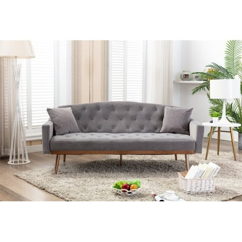 COOLMORE Velvet Sofa , Accent sofa .loveseat sofa with Stainless feet Grey Velvet