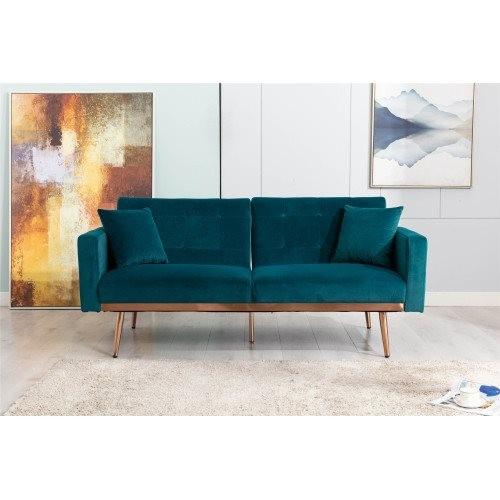 COOLMORE Velvet Sofa , Accent sofa .loveseat sofa with rose gold metal feet and Teal Velvet