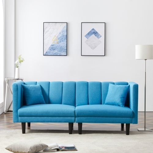 FUTON SOFA BED SLEEPER WITH 2 PILLOWS BLUE COLOR LINEN BLEND FABRIC