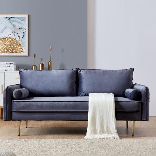 Velvet Fabric sofa with pocket-71''grey