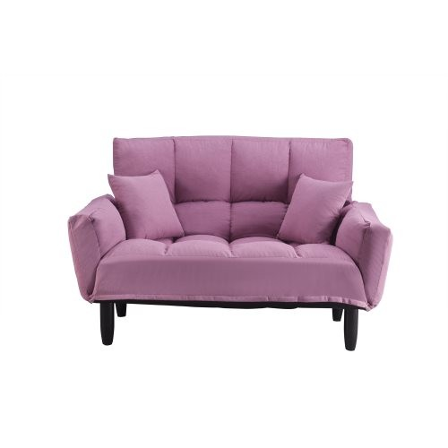U_STYLE Modern Round Arm Tufted Sleeper Sofa with Solid Wood Legs