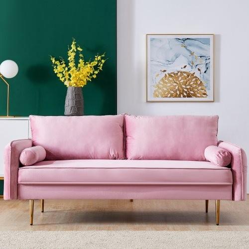 Velvet Fabric sofa with pocket-71''pink