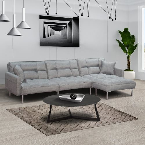 Sectional sofa couch sleeper grey