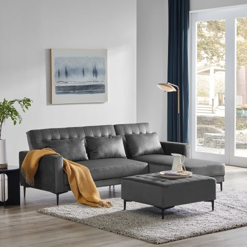Orisfur. Sectional Couch with Three Pillows, L-Shape Upholstered Sofa bed with Modern Elegant Microsuede Fabric for Living Room
