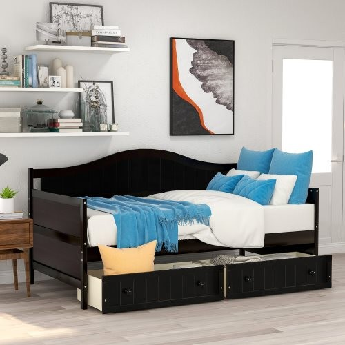 Twin Wooden Daybed with 2 drawers, Sofa Bed for Bedroom Living Room,No Box Spring Needed,Espresso
