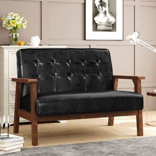 Oris Fur. Modern Solid Loveseat Sofa Upholstered PU Leather 2-Seat Couch (Black)