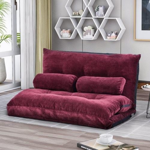 Orisfur. Sofa Bed Adjustable Folding Futon Sofa Video Gaming Sofa Lounge Sofa with Two Pillows
