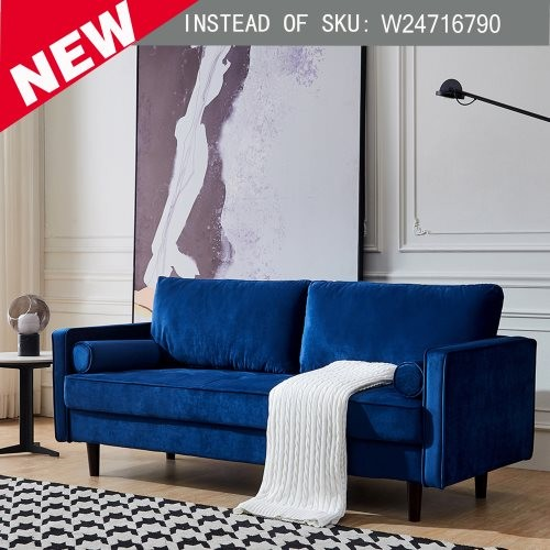 """Mid-Century Modern Velvet fabric Bench Sectional Couch Sofa, 75.6""""W Blue"""