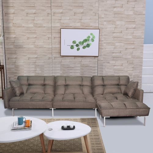 Sectional sofa couch sleeper brown
