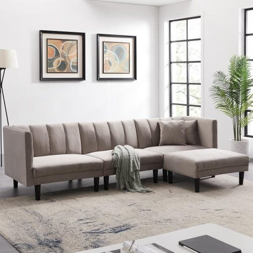 REVERSIBLE SECTIONAL SOFA SLEEPER WITH 2 PILLOWS LIGHT GREY VELVET (replace W223S00096)
