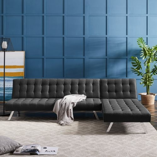 REVERSIBLE SECTIONAL SOFA SLEEPER BLACK FABRIC WITH METAL LEGS