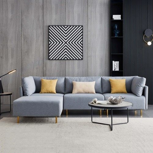 Comfortable Linen Sectional Sofa, L-Shape-Gray