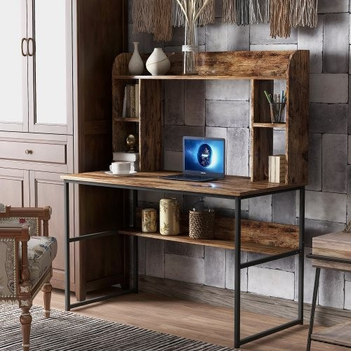 Home Office Computer Desk with Hutch, 47 inch Rustic Office Desk and Modern Writing Desk with Storage Shelves , Vintage and Blac