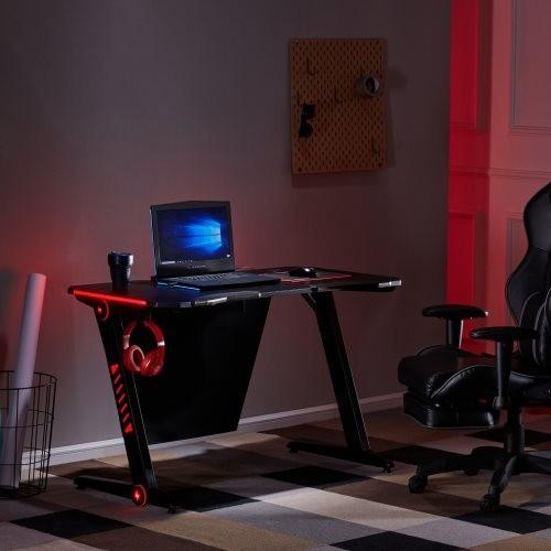 Gaming Desk Plus——Home Office PC Computer Gamer Desks /RGB LED Lights/ Headphone Hook(Black)