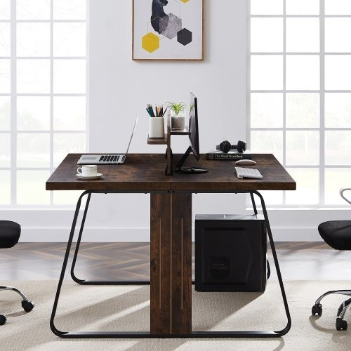 Double Office Desk, Industrial Computer Desk PC Laptop Study Table for Two, MDF Large Workstation, for Home and Office (Tiger)