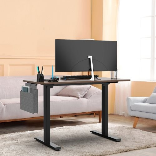 Height adjustable electric standing desk,48x24 inch stand up table with headset hook and storage bag