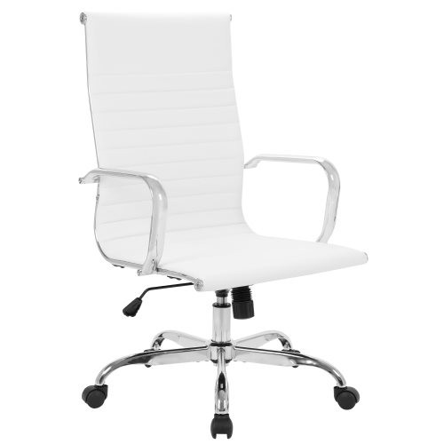 High Back Office Chair Home Desk Chair PU Leather White 9110HWHI W553