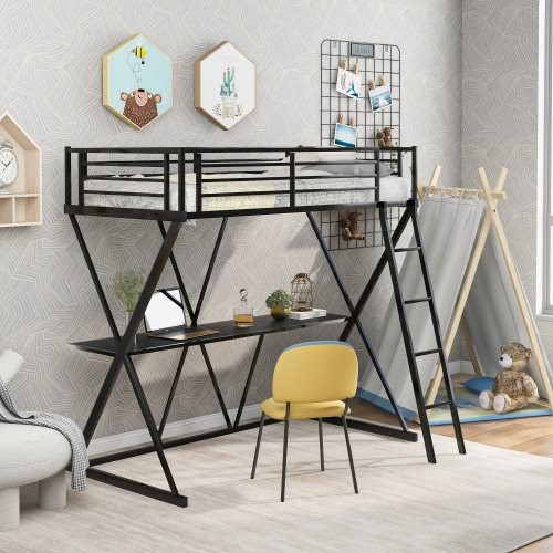 Steel Twin Loft Bed with Desk, Loft Bed with Ladder and Full-Length Guardrails, X-Shaped Frame, Black(New)