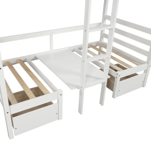 Functional Loft bed (turn into upper bed and down desk,cushion sets are free), twin size, white