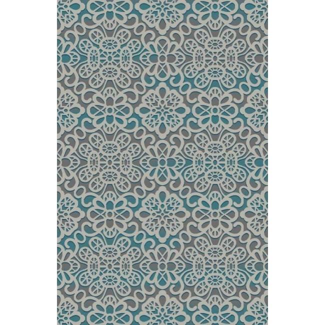 Natural & Floral Ikat Blue Area Rug