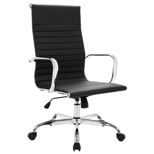 High Back Office Chair Home Desk Chair PU Leather Black 9110HBLK W553