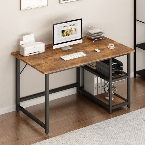 Modern Simple Style 47'' Home Office Computer Study Desk with Reversible 2 Tiers Storage Shelves