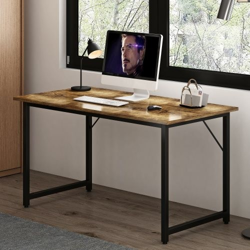 A Simple Industrial Style Computer Desk, Home Office Writing Desk, Black Metal Frame, Charcoal Wood Color