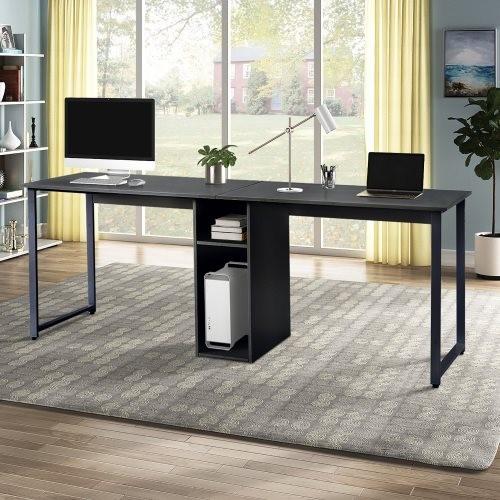 Home Office 2-Person Desk, Large Double Workstation Desk, Writing Desk with Storage,Black