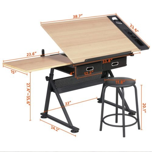 Height Adjustable Draft Desk Drawing Table Desk Tiltable Tabletop w/Stool and Storage Drawer for Reading, Writing Art Craft Work