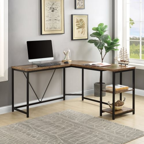 Office Desk —L-Shaped Computer Desk with 2-Tier Storage Shelves for Home Office(Brown)